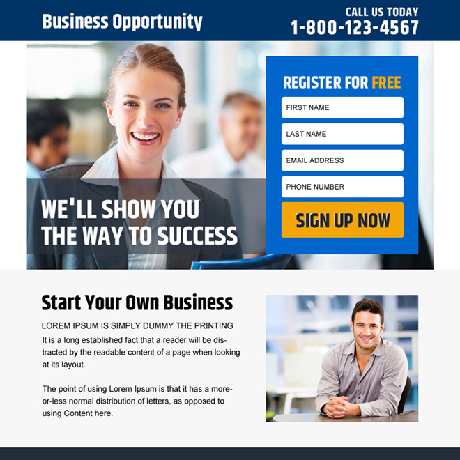 business opportunity sign up capturing PPV design Business Opportunity example