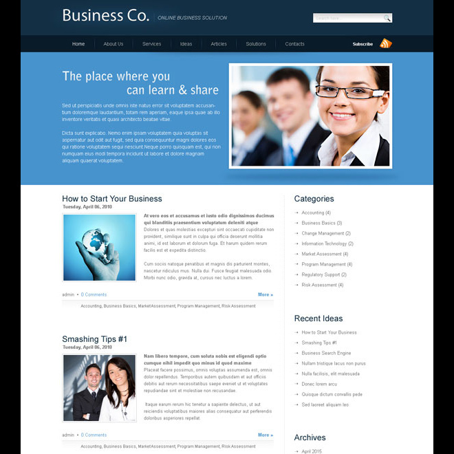 business company website template design psd for your online business Website Template PSD example