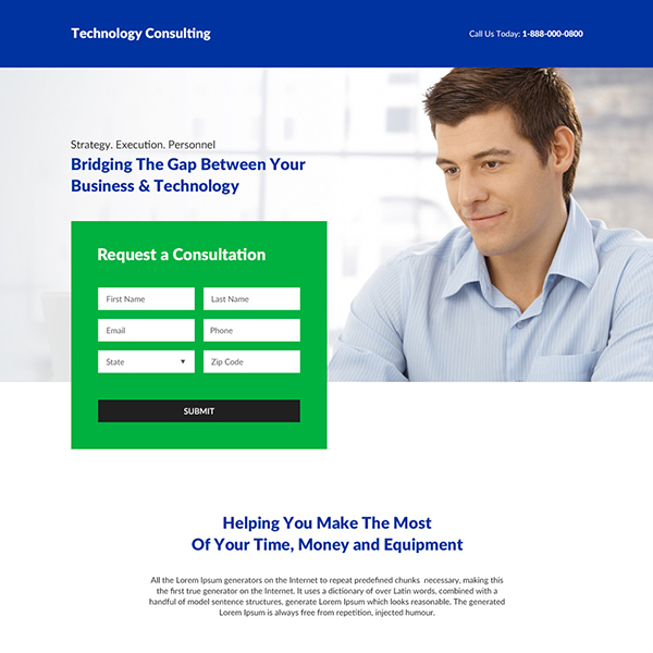 business consultation responsive landing page design Business example