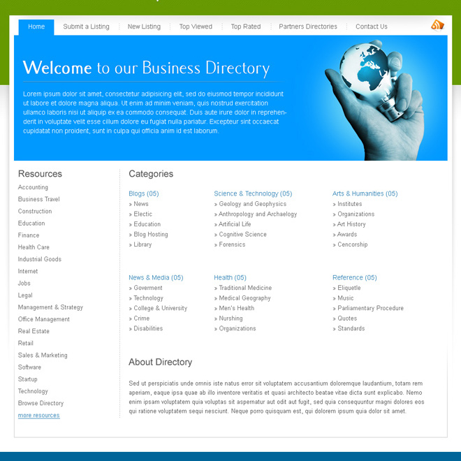 business web directory website template design psd Website Template PSD example