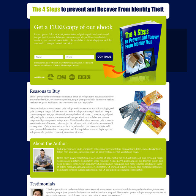 free copy of ebook lead generating landing page Ebook example