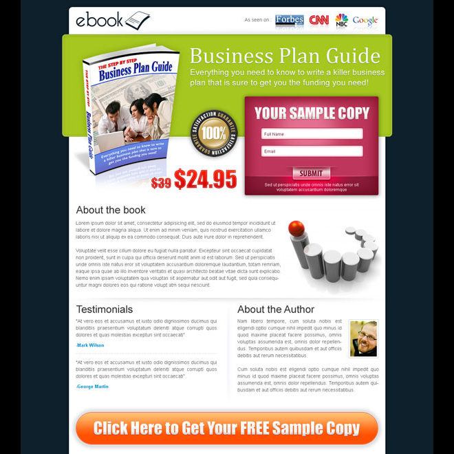 business ebook lead capture lander design Ebook example