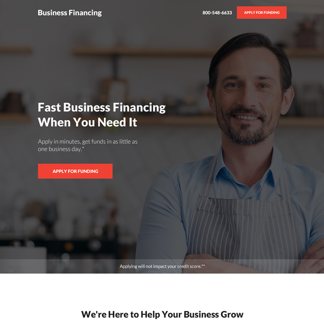 business financing pay per click landing page design Business Loan example