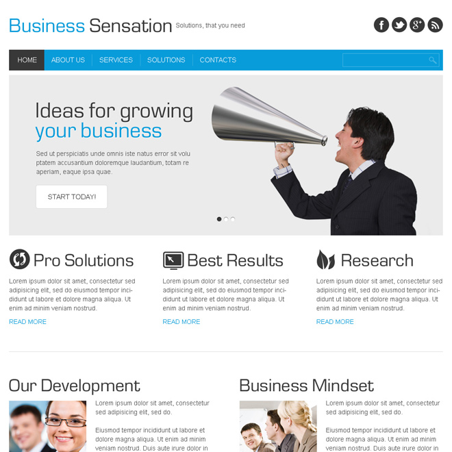 business sensation clean and minimal html website template Business example