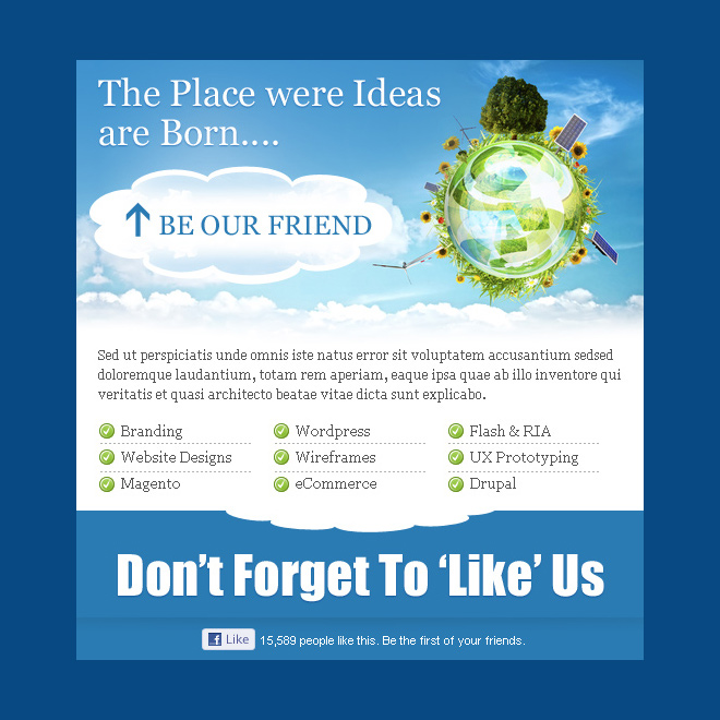 clean and conversion centered business idea html facebook fan page template PPV Landing Page example