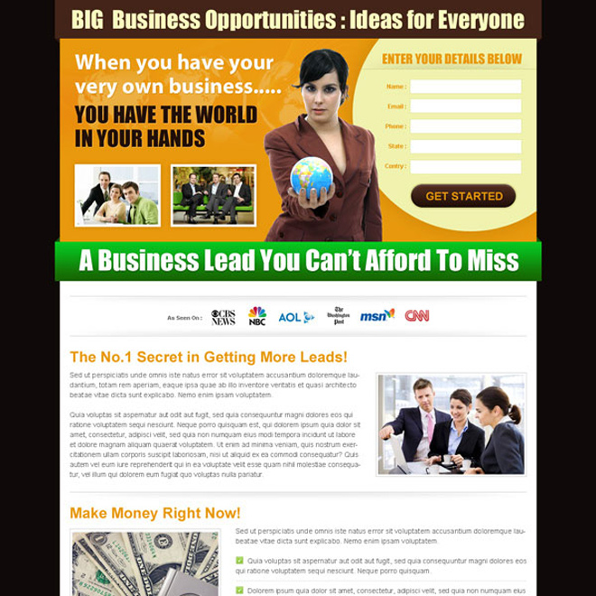 business opportunity effective and creative lander design Business Opportunity example
