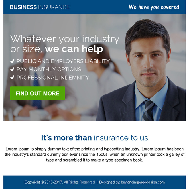 professional business insurance ppv landing page design Business Insurance example