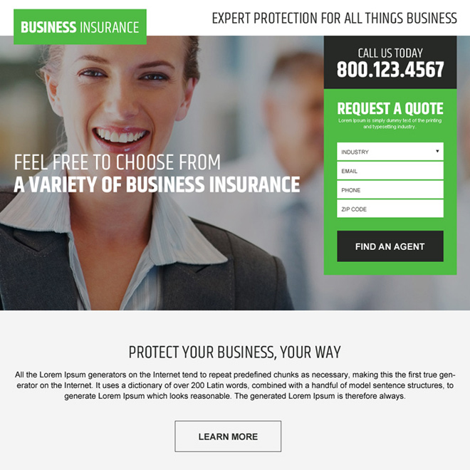 business insurance free quote lead capturing landing page Business Insurance example