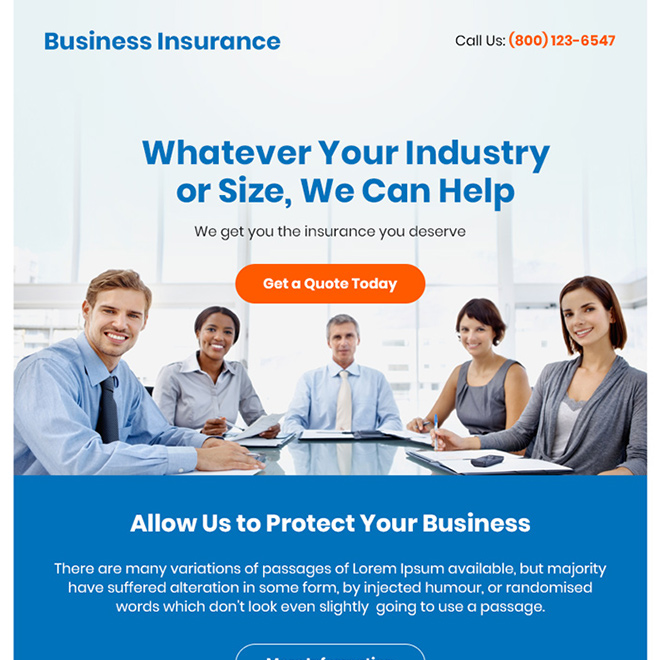 business insurance free quote ppv landing page design Business Insurance example