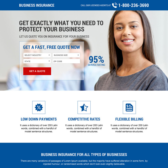 responsive business insurance mini landing page design Business Insurance example