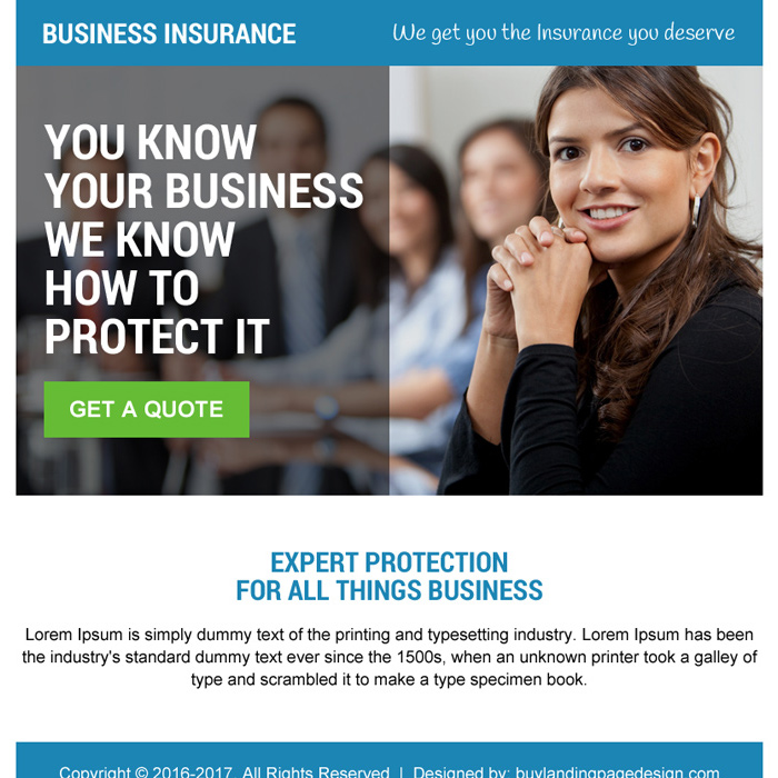 business insurance protection ppv landing page design Business Insurance example