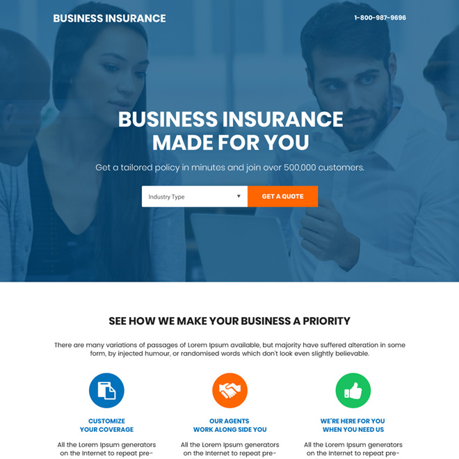 professional small business insurance bootstrap landing page Business Insurance example