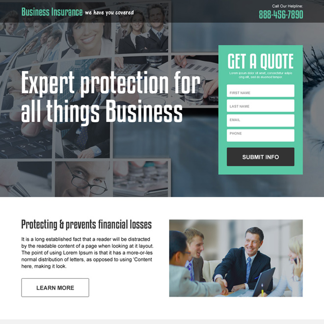 business insurance professional and clean landing page Business Insurance example