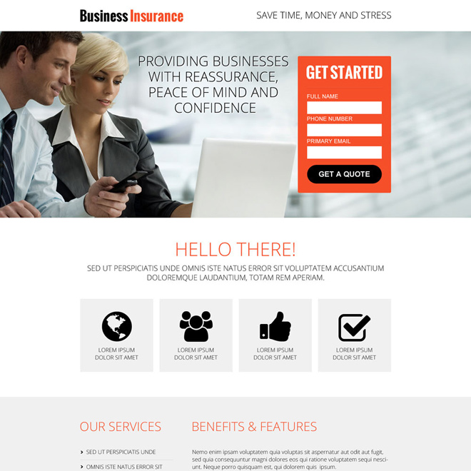 conversion centered business insurance lead capture landing page design template Business Insurance example