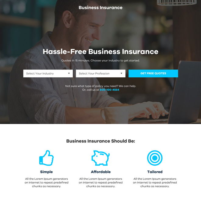 hassle free business insurance professional landing page design Business Insurance example