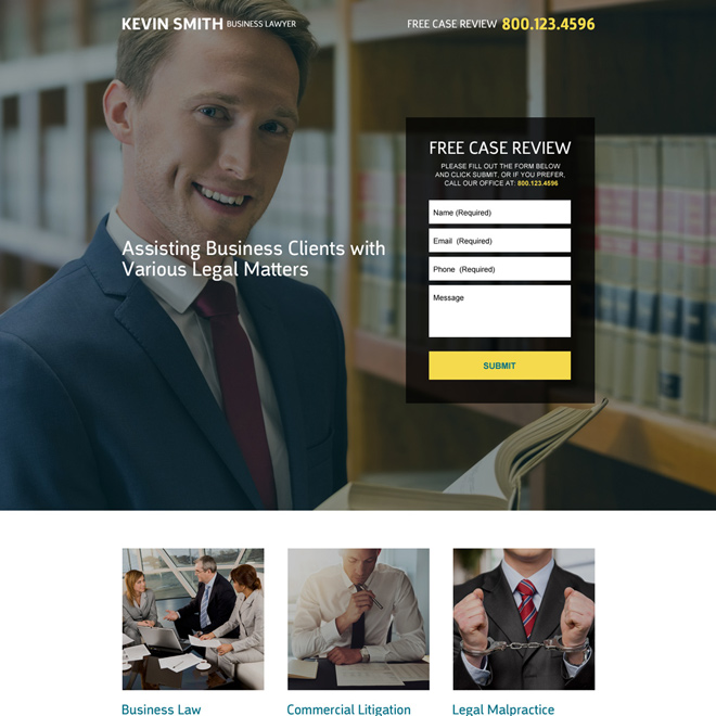 business lawyer free case review lead capturing landing page Attorney and Law example