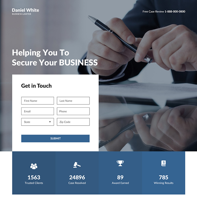 business lawyer lead capture responsive landing page design Attorney and Law example