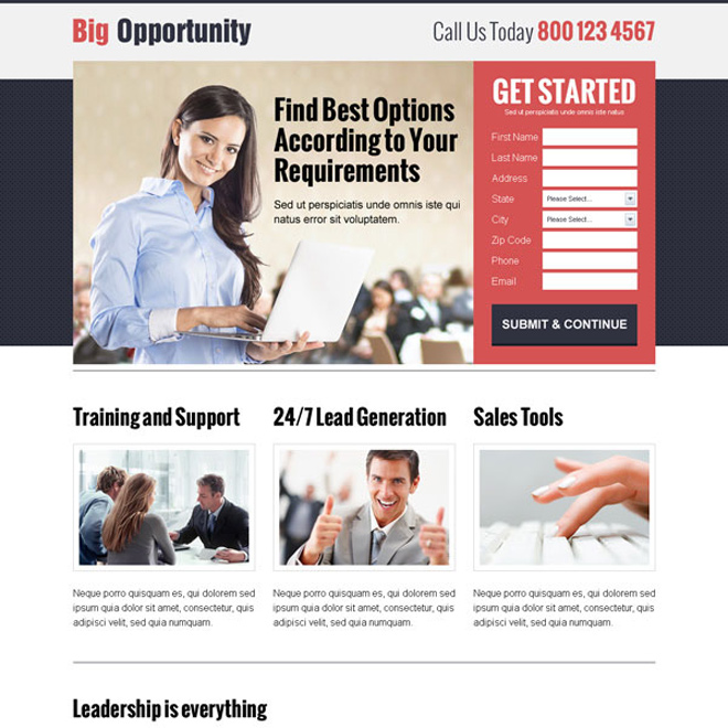 responsive lead capture business landing page design templates to boost your business with new leads and sales Business Opportunity example