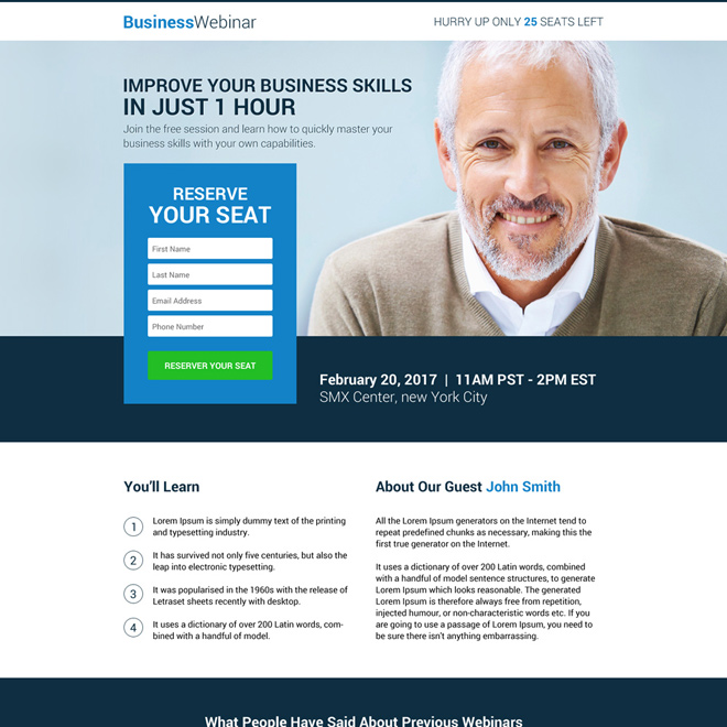 business lead gen webinar landing page design Webinar example