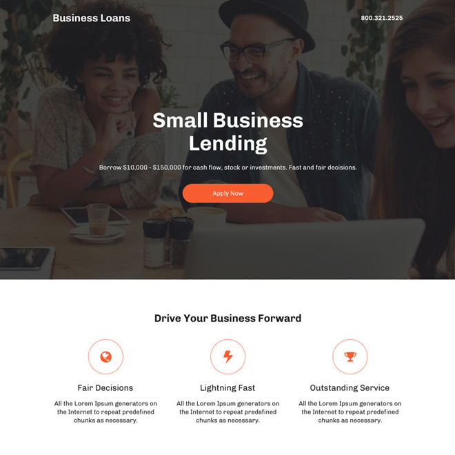 small business lending professional landing page design Business Loan example