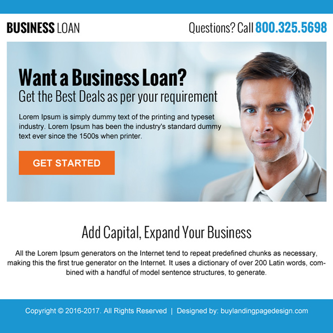 expand your business with business loan ppv landing page Business Loan example