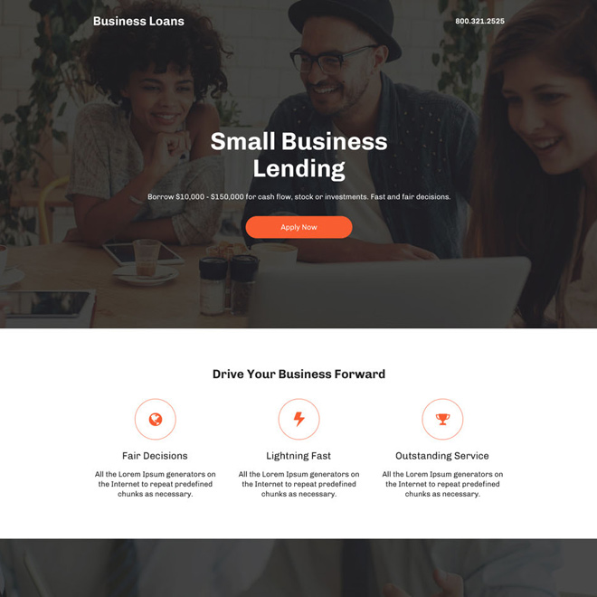 modern and professional business loan responsive landing page Business Loan example