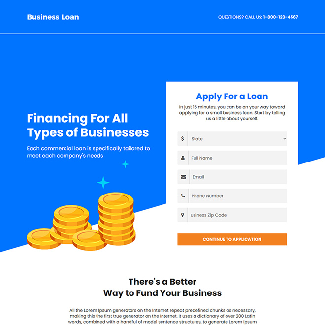 instant business funding for all types of business landing page Business Loan example