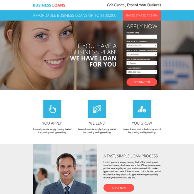 responsive business loan lead capturing landing page design Business Loan example