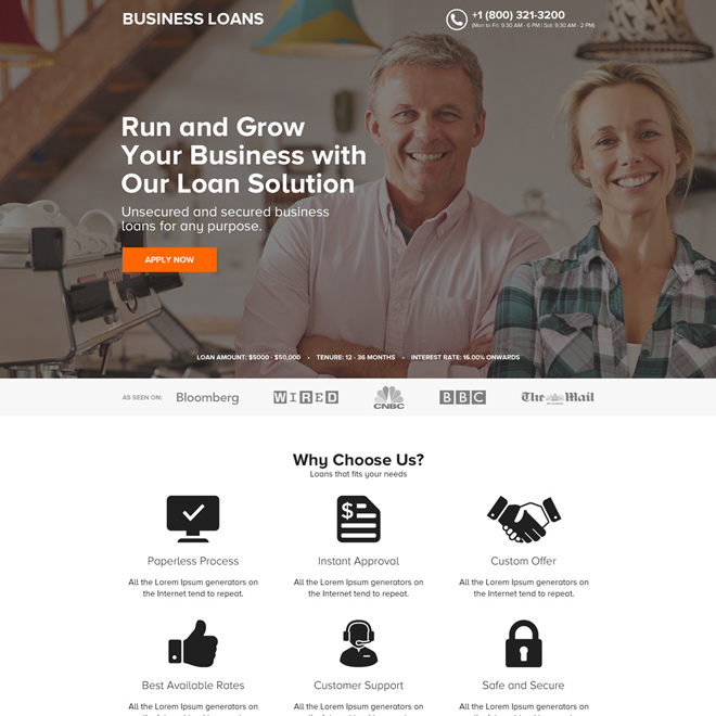 minimal business loan online application click through landing page Business Loan example