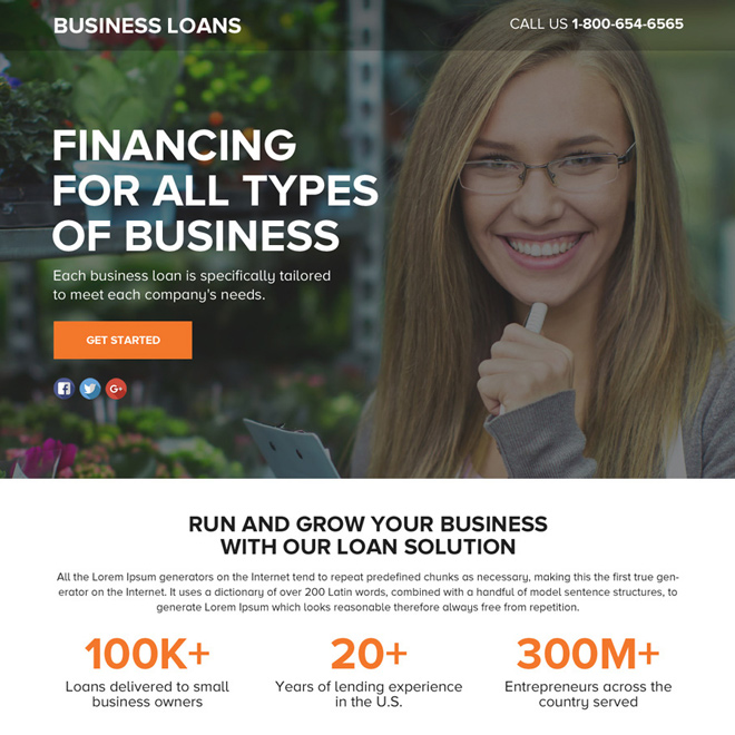 business loan solution lead funnel landing page design Business Loan example