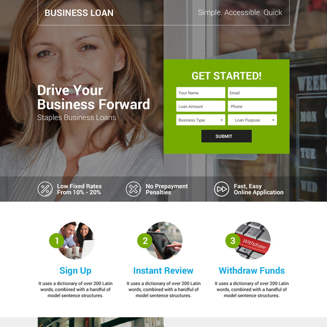 small business owners loan landing page design Business Loan example