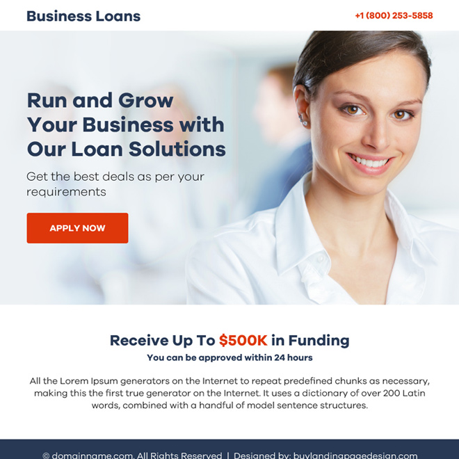 business loan solution ppv landing page design Business Loan example