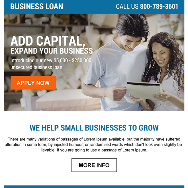 business loan ppv landing page design with strong call to action button Business Loan example