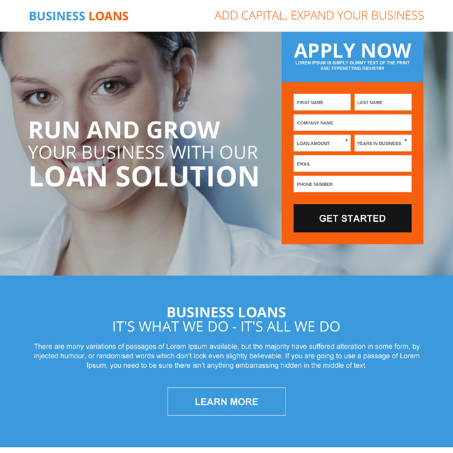 business loan to expand your business responsive landing page design Business Loan example
