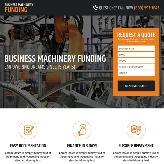 business machinery funding lead capturing landing page design Business Loan example