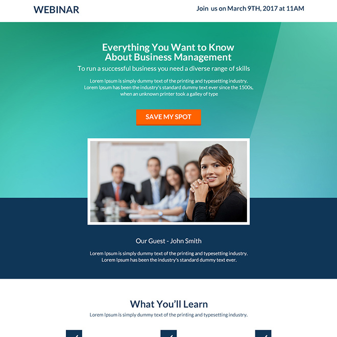 business management webinar responsive landing page Webinar example
