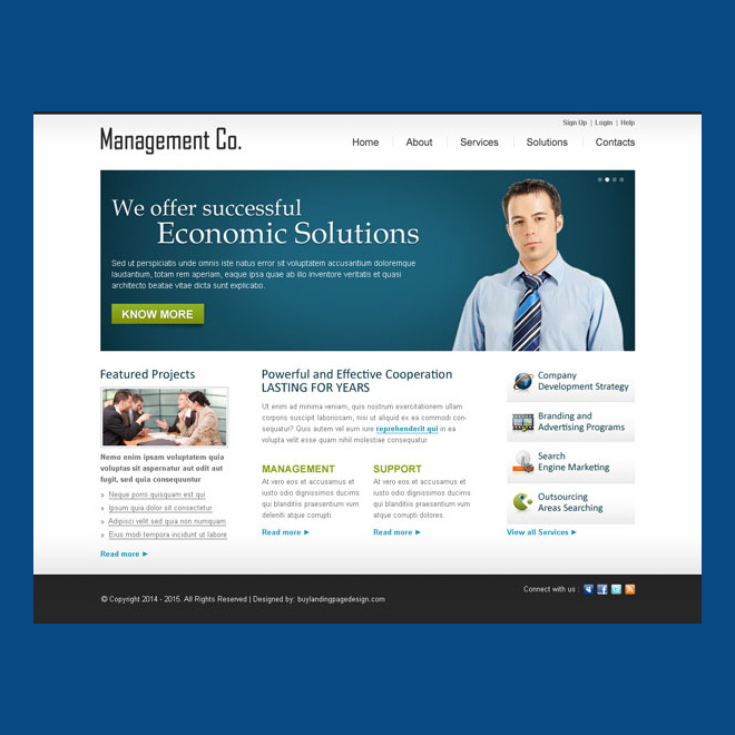 successful economic solution call to action clean business management website template design Website Template PSD example