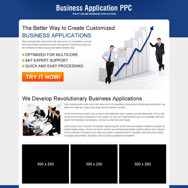 business application call to action ppc landing page PPC Landing Pages example