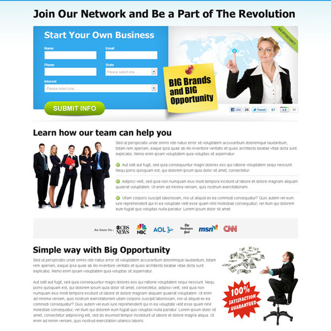big brands and big opportunity effective and converting clean business opportunity landing page design Business example