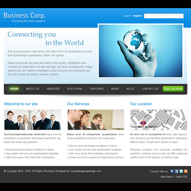 connecting you to the world business networking website template psd Website Template PSD example