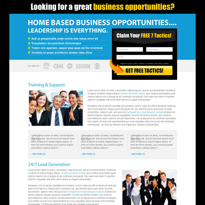 business opportunity landing page design template for sale Business Opportunity example