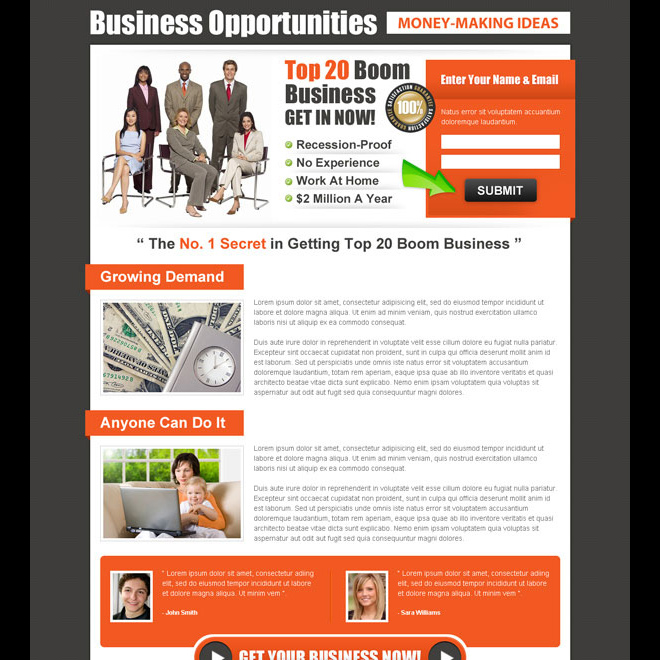 small lead capture business opportunity landing page design Business Opportunity example