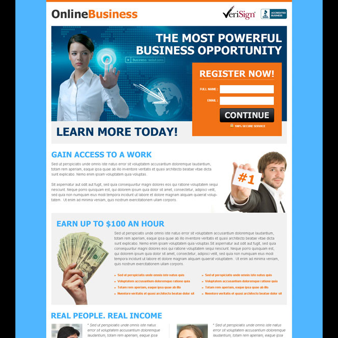 the most powerful business opportunity converting lead capture squeeze page design Business example