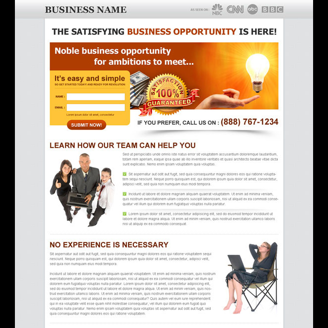 noble business opportunities for ambitions small and creative lead capture landing page design Business example