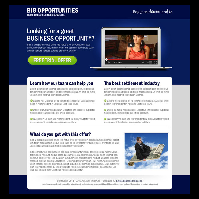 big business opportunity video trial offer landing page design Business example