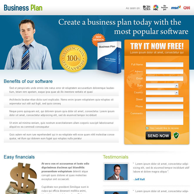 create a business plan today creative landing page design for sale Business example