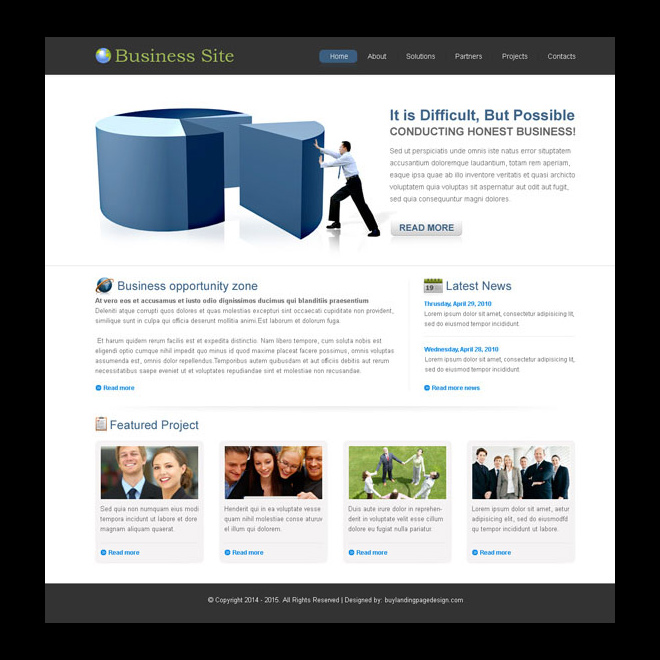 clean and converting business website template psd Website Template PSD example