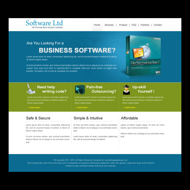 business software clean and converting website template design psd Website Template PSD example
