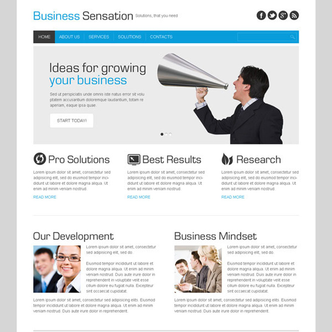 business sensation clean and effective website template design Website Template PSD example