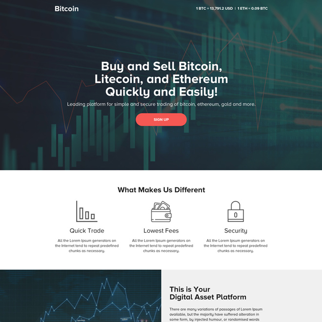 professional digital currency trading landing page design Cryptocurrency example